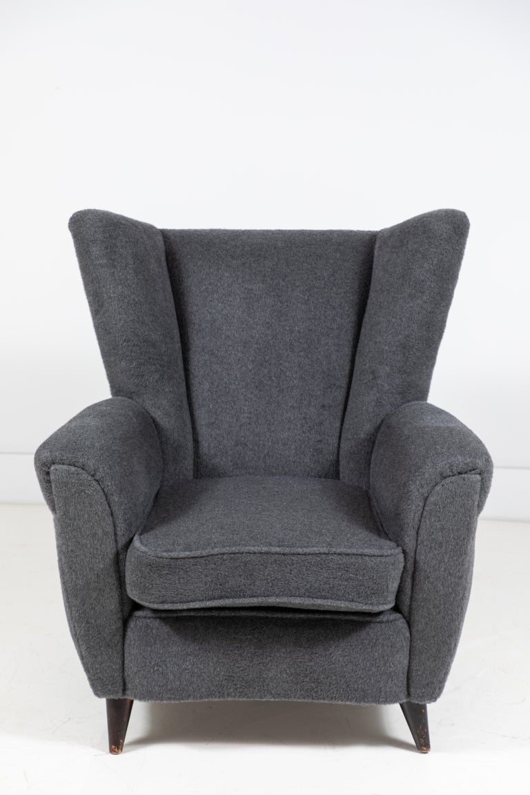 Mohair Pair of French Midcentury Wingback Chairs For Sale