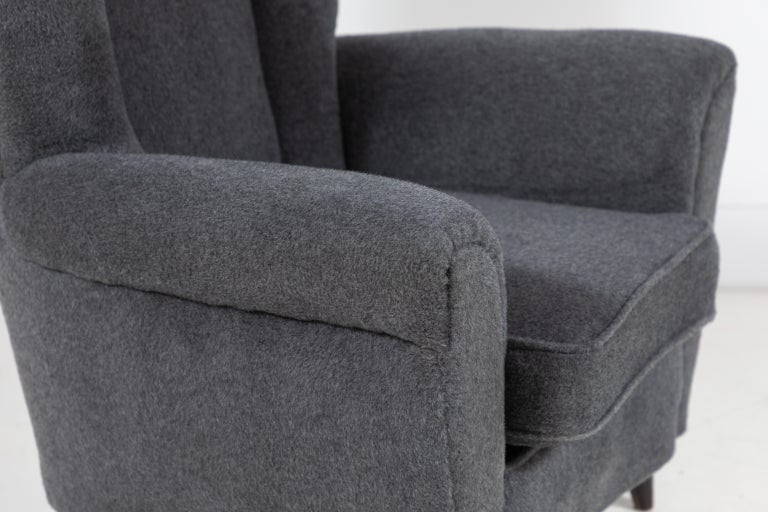 Pair of French Midcentury Wingback Chairs For Sale 2