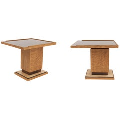 Pair of French Midcentury 1940s Oak Low End or Side Tables