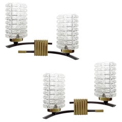Pair  Stilnovo Style Glass Brass Mirror Sconces Wall Lights, 1960s, Mid Century