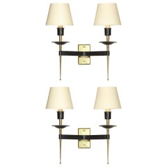 Pair of French Midcentury Brass and Black Enamel Sconces with Linen Shades