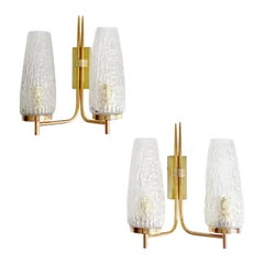 Pair of 60s French Midcentury Gilded Brass and Glass Sconces
