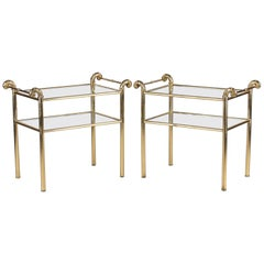 Pair of French Midcentury Brass Side Tables with Glass Tops