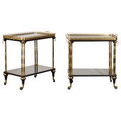 Pair of French Midcentury Bronze and Ebonized Trolleys with Black Mirrored Tops