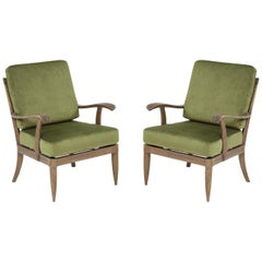 Pair of French Midcentury Cerused Oak Armchairs/ Lounge Chairs