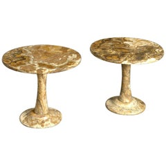 Pair of French Midcentury Circular Onyx Occasional Tables
