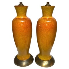Pair of French Midcentury Crackled Porcelain Lamps