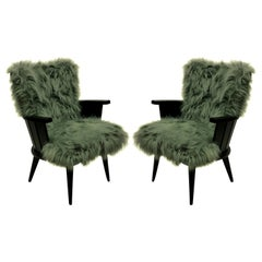 Pair of French Midcentury Ebonized Armchairs in Fur