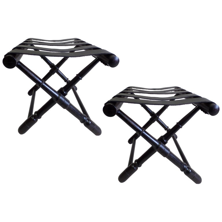 Pair of French Midcentury Ebonized Leather Strap Benches Style Jean-Michel Frank For Sale