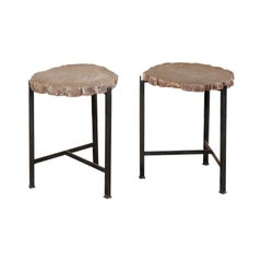 Pair of French Midcentury Faux Bois Side Tables