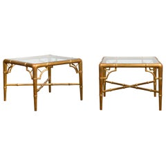 Pair of French Midcentury Gilt Faux Bamboo Drinks Tables with Glass Tops