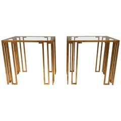 Pair of French Midcentury Gilt Iron 'Creneaux' Side or End Tables by Jean Royère