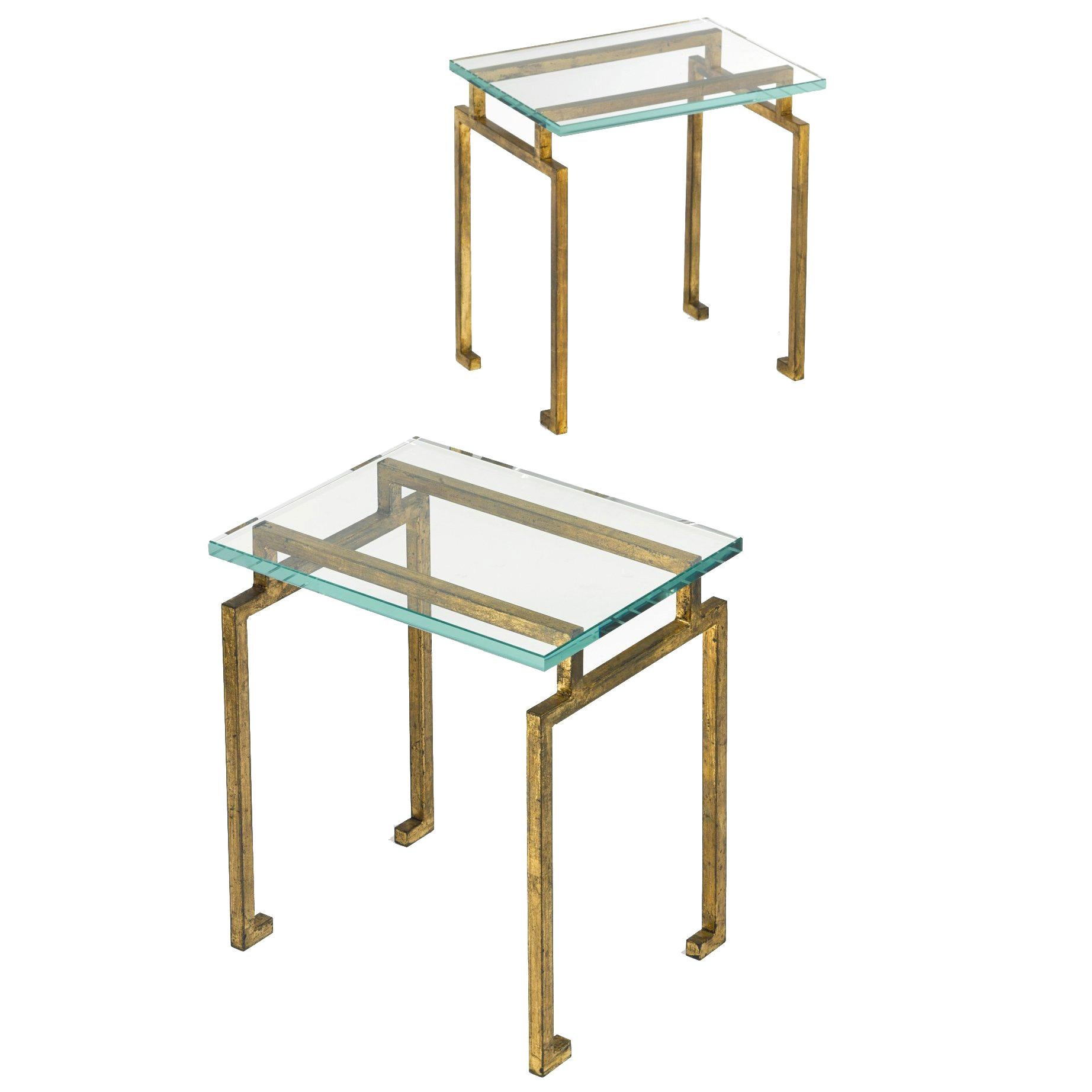 Pair of French Midcentury Modern Neoclassic Gilt Iron Side Tables, Maison Ramsay