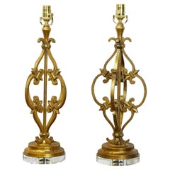 Pair of French Midcentury Gilt Metal Table Lamps with Scrolls and Fleur de Lys