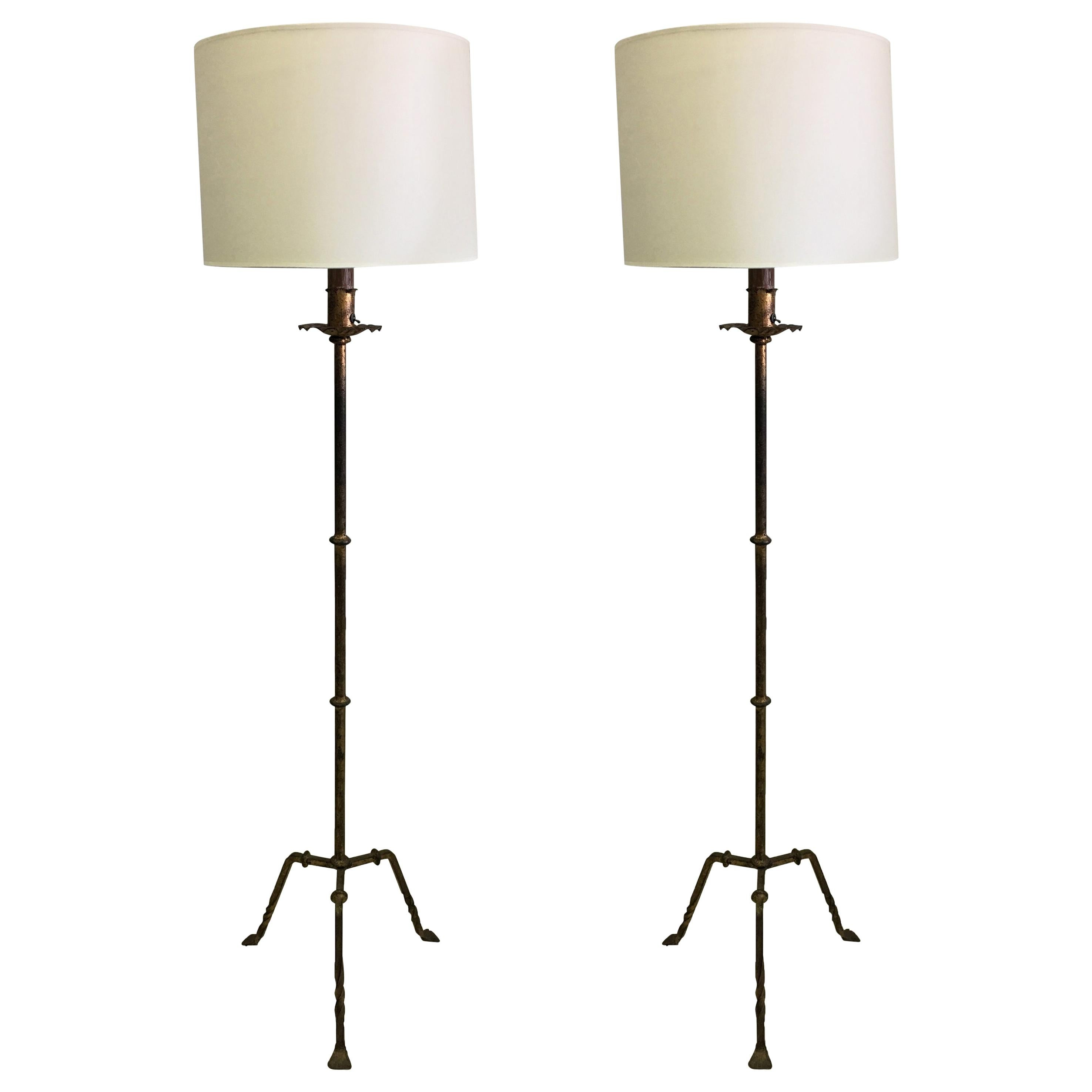 Pair of French Midcentury Gilt Wrought Iron Floor Lamps, circa 1940