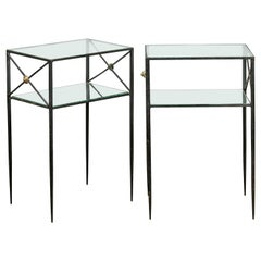 Pair of French Midcentury Iron and Brass Tables with Glass Top, Mirrored Shelf