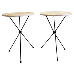 Pair of French Midcentury Iron & Limestone End/ Side Tables, Giacometti