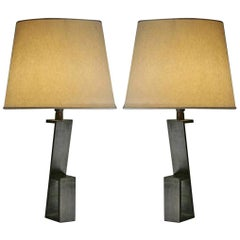 "Pair of French Midcentury Iron ""Z"" Table Lamps in Manner of Jacques Quinet"
