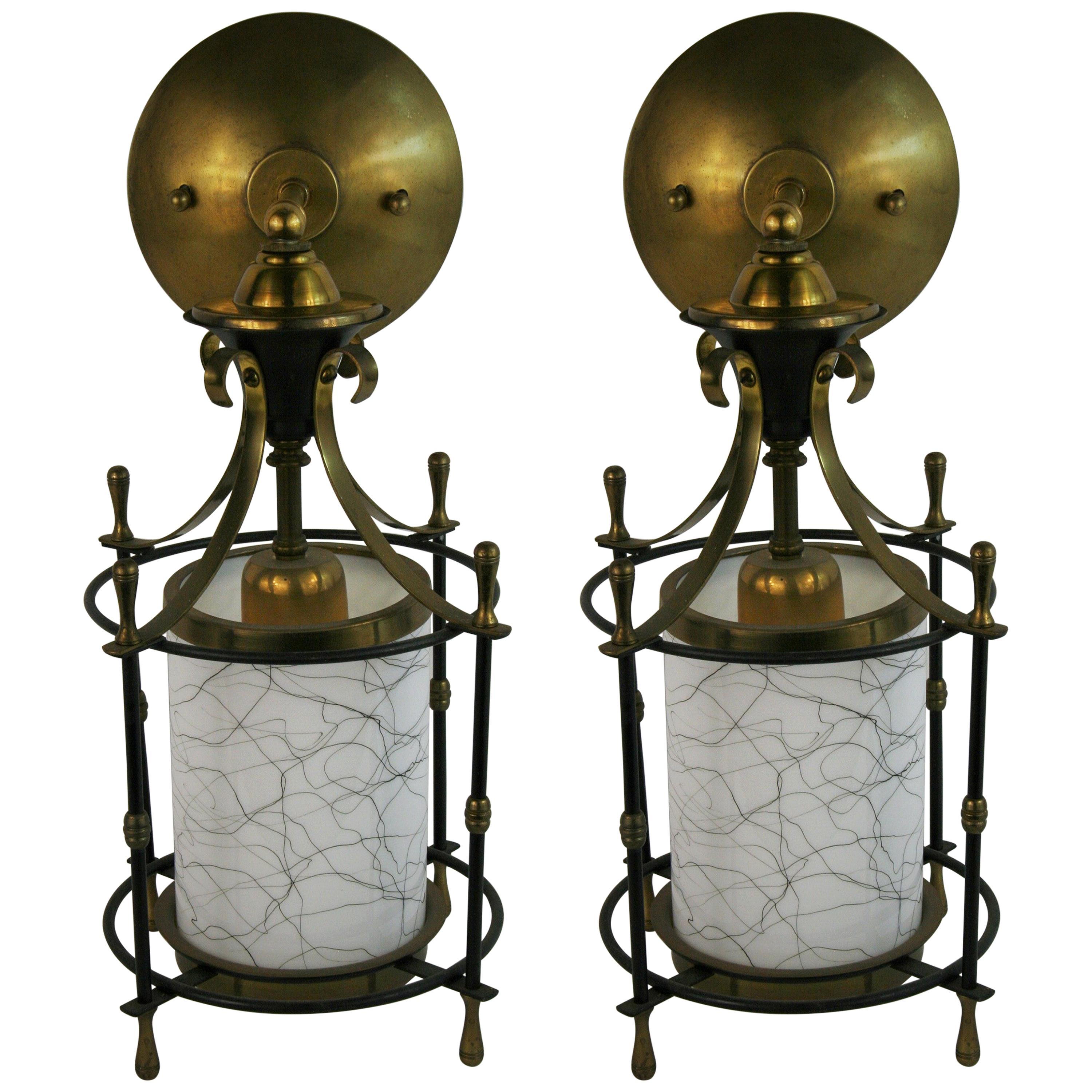 Pair of French Midcentury Lantern Sconces