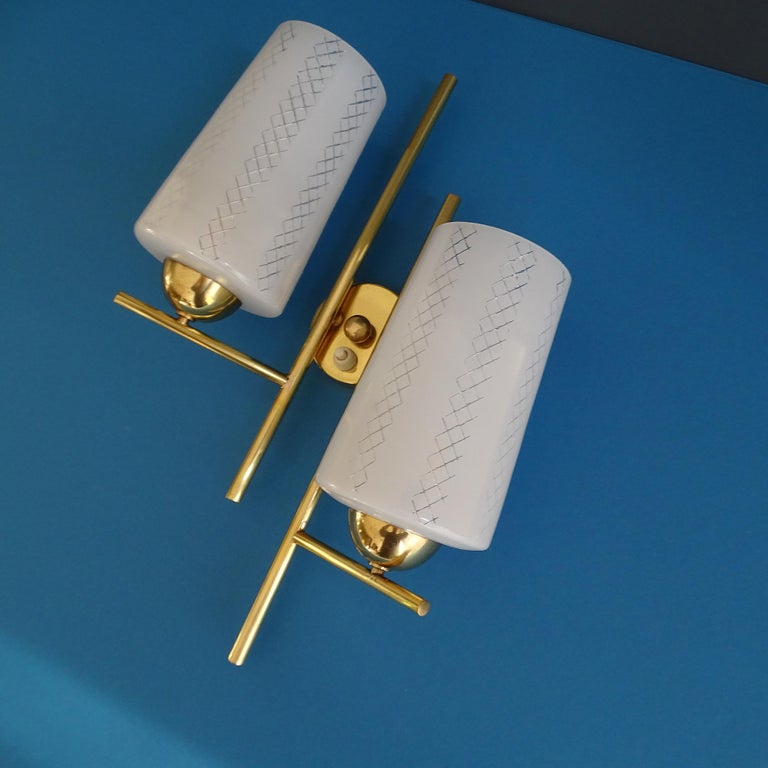 Pair of French  Midcentury Lunel Glass Brass Sconces,   Mirror Wall Lights For Sale 10