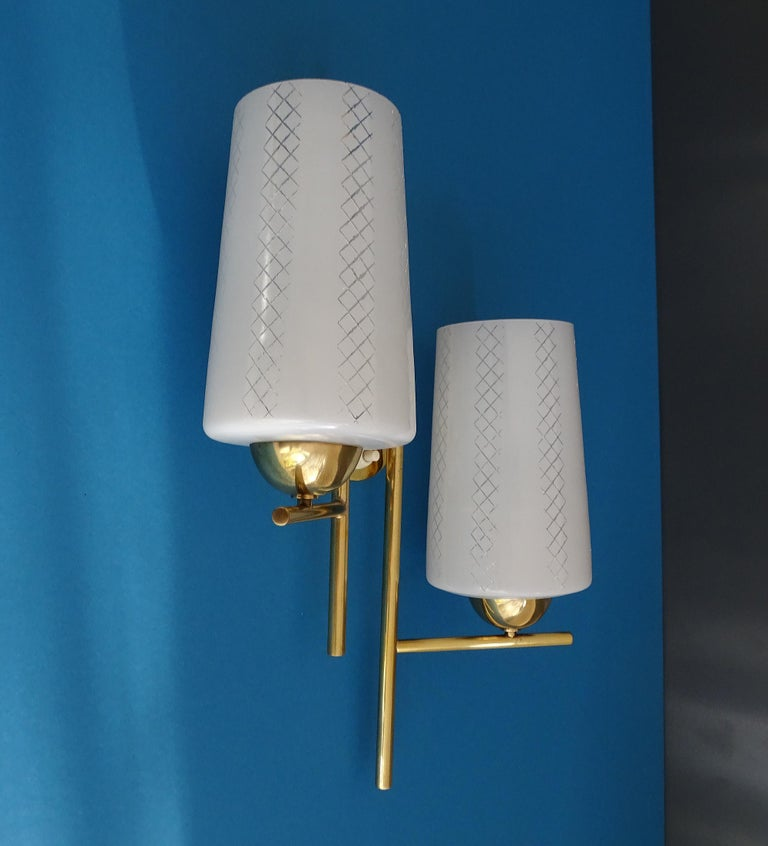 Pair of French  Midcentury Lunel Glass Brass Sconces,   Mirror Wall Lights For Sale 3