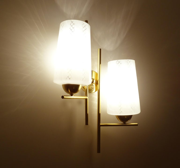 Mid-Century Modern Pair of French  Midcentury Lunel Glass Brass Sconces,   Mirror Wall Lights For Sale