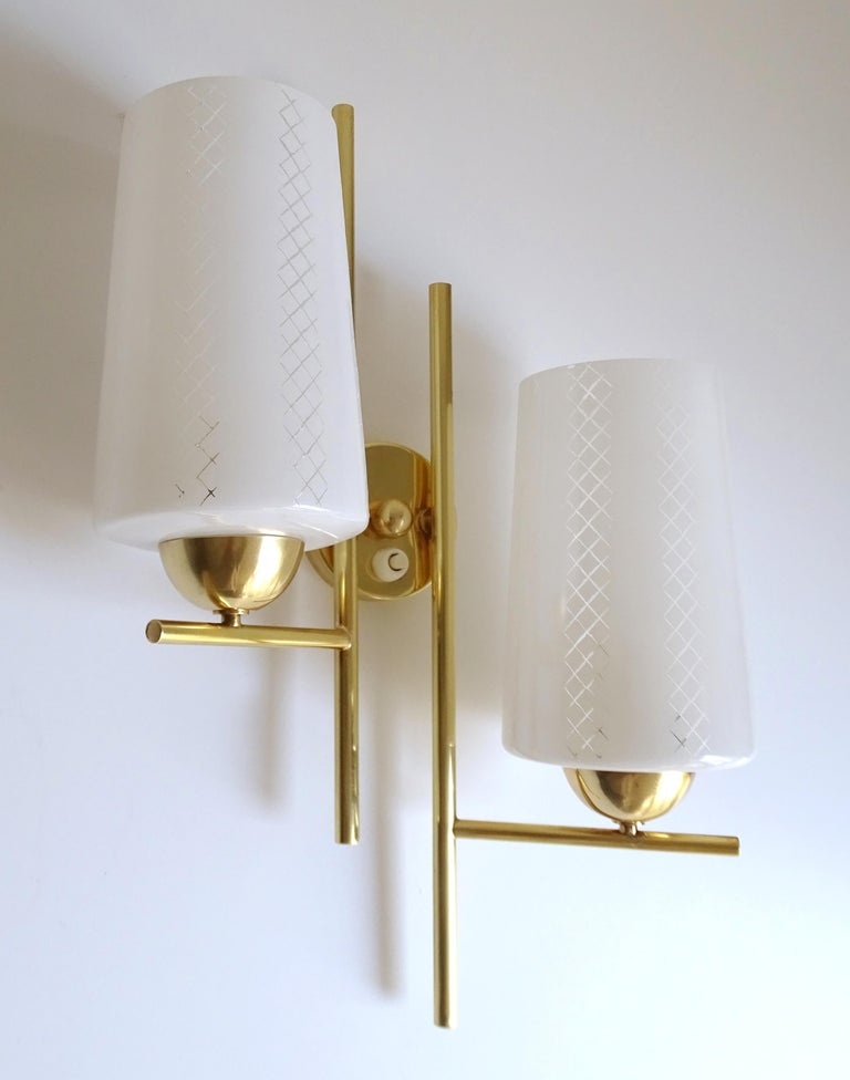 Mid-20th Century Pair of French  Midcentury Lunel Glass Brass Sconces,   Mirror Wall Lights For Sale