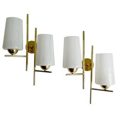 UNIQUE Pair of 1960s Glass Brass Sconces by Lunel France,  Stilnovo Style