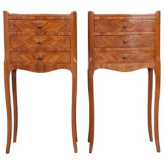 Pair of French Midcentury Marquetry Bedside Tables
