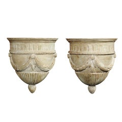 Pair of French Midcentury Neoclassical Style Painted Wall Brackets with Swags