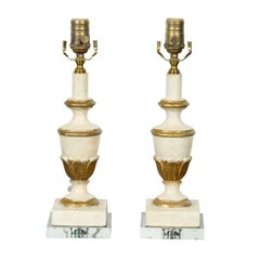 Pair of French Midcentury Painted and Gilt Carved Urn Table Lamps on Lucite