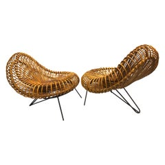 Pair of French Midcentury Rattan Lounge Chairs by Janine Abraham & Dirk Jan Rol