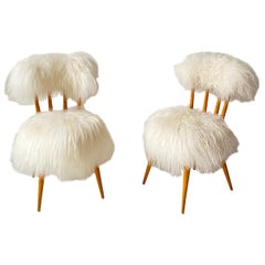 Pair of French Midcentury Side Chairs Covered in Icelandic Sheepskin