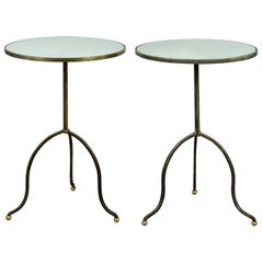 Pair of French Midcentury Steel Tripod Side Tables with Circular Mirrored Tops