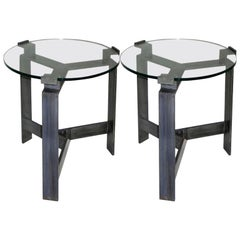 Pair of French Midcentury Style Bronzed Iron End Tables Manner of Jacques Quinet