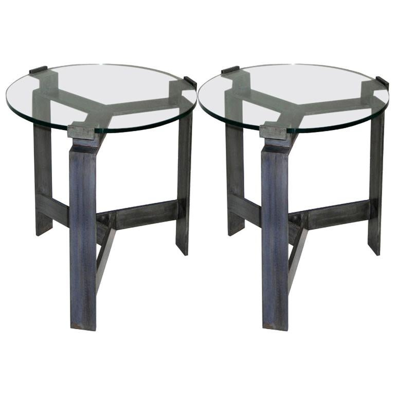 Pair of French Midcentury Style Bronzed Iron End Tables Manner of Jacques Quinet For Sale