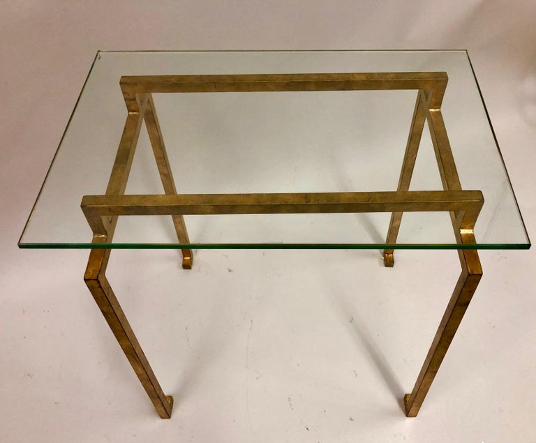 Mid-Century Modern Pair of French Midcentury Style Gilt Iron Side Tables, Maison Ramsay For Sale