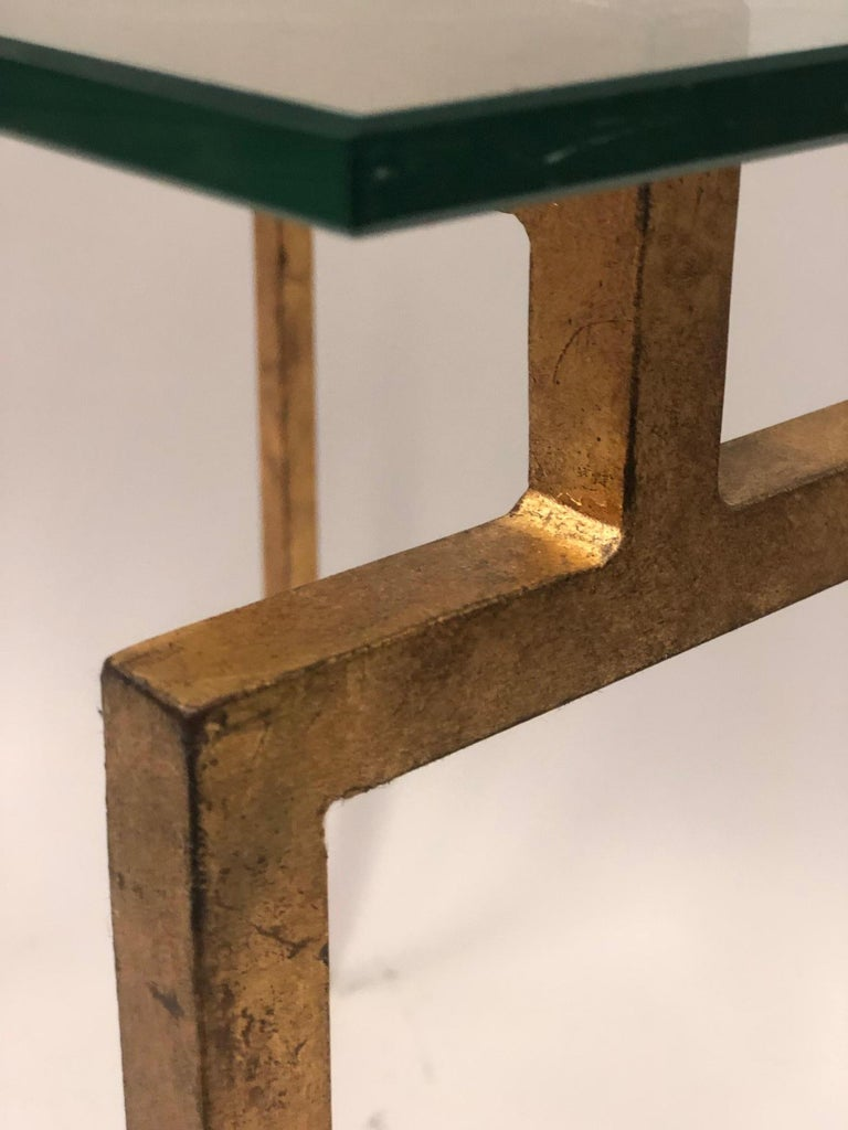 20th Century Pair of French Midcentury Style Gilt Iron Side Tables, Maison Ramsay For Sale