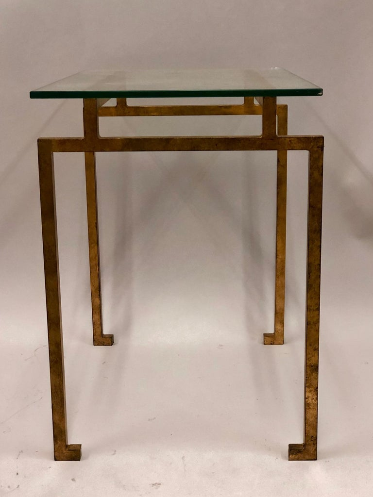 Pair of French Midcentury Style Gilt Iron Side Tables, Maison Ramsay In Good Condition For Sale In New York, NY