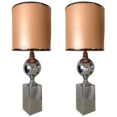 Pair of French Midcentury Table Lamp by Philippe Barbier, 1970s