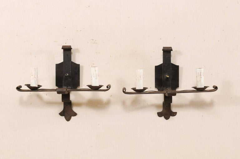 Pair Of French Midcentury Two Light Forged Iron Sconces