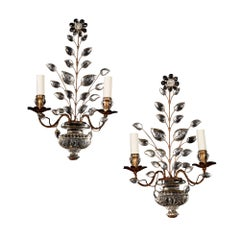 Pair of French Midcentury Verre Eglomise Glass Maison Bagues Wall Lights Sconces