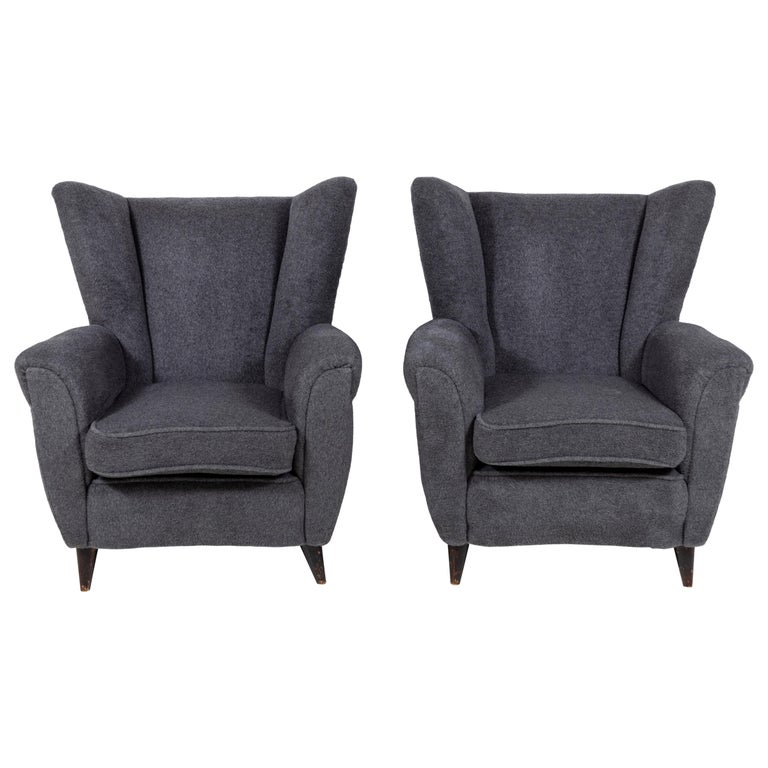 Pair of French Midcentury Wingback Chairs For Sale