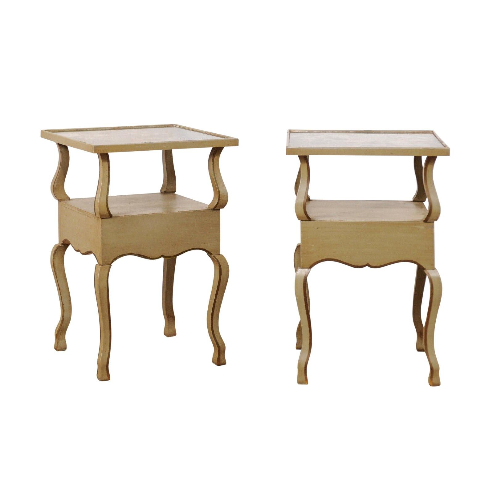 Pair of French Mirror-Top Side Tables, circa 1930s