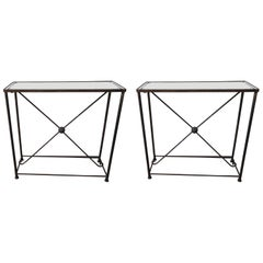 Pair of French Mirrored Top Brass Console Tables