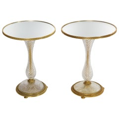 Pair of French Mirrored Topped Prismatic Crystal and Bronze Circular Side Tables