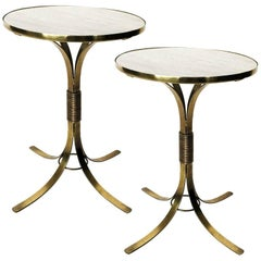 Pair of French Modern Brass with Marble Top Side Tables