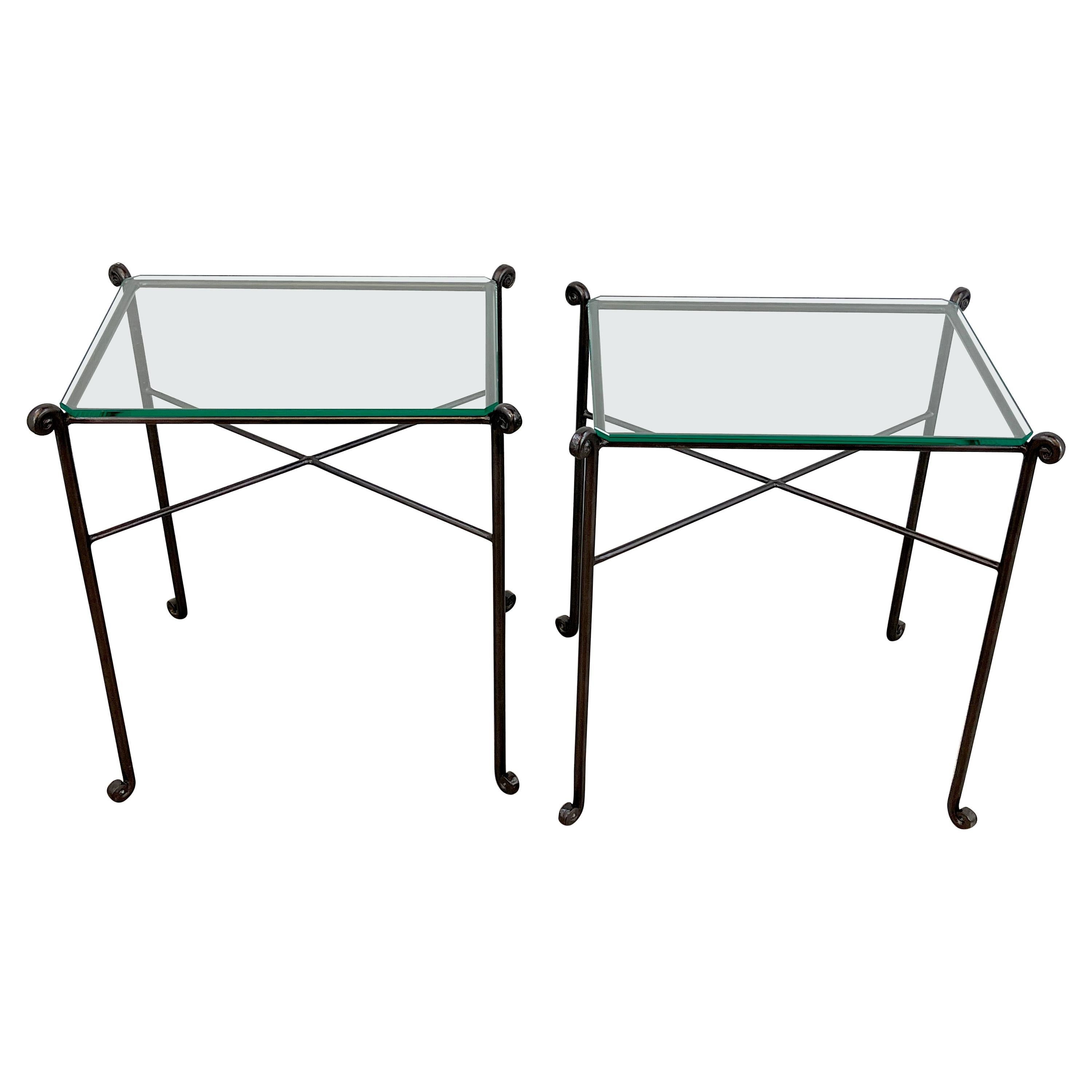 Pair of French Modern Bronzed Iron Garden Tables, C 1960s