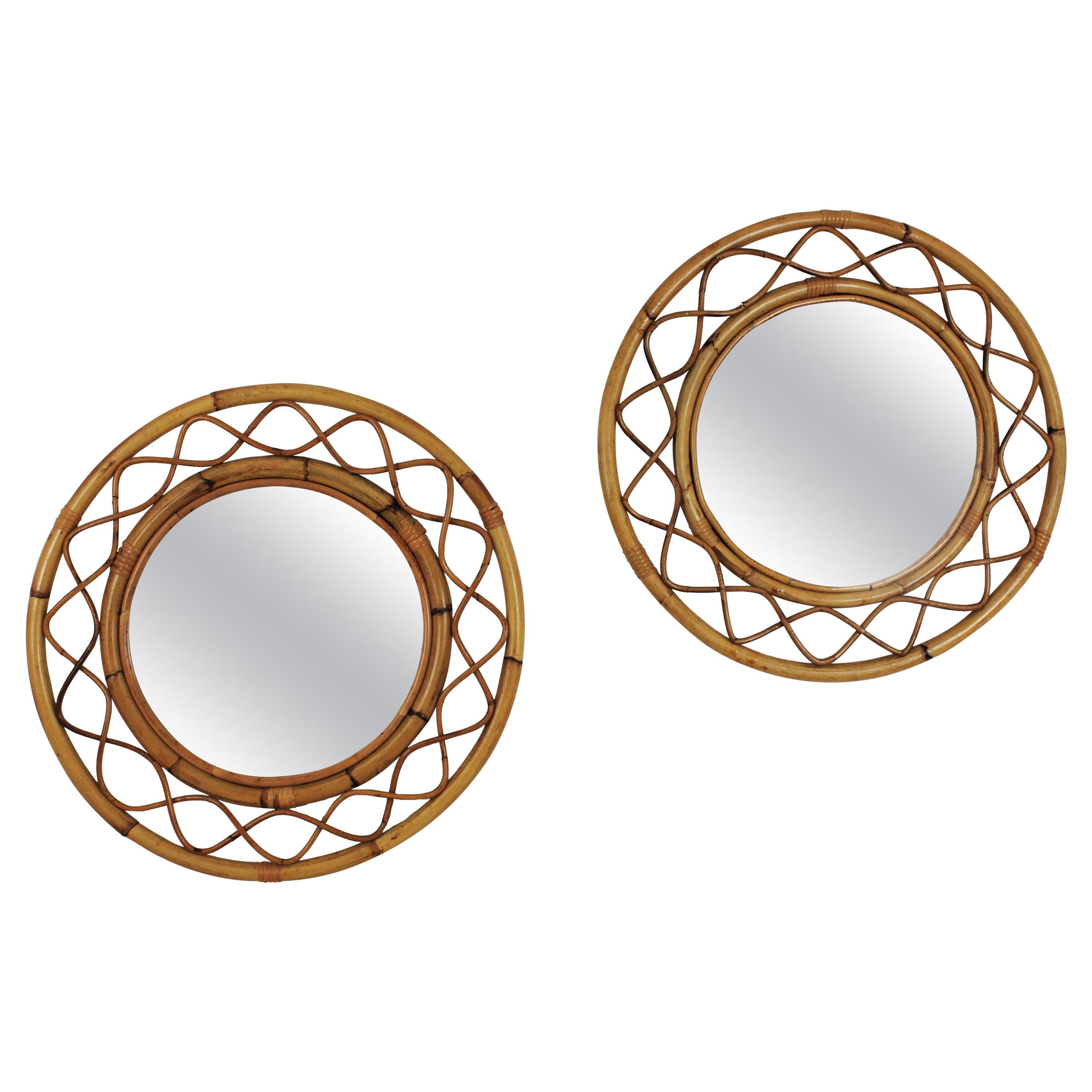 Pair of French Modern Franco Albini Style Bamboo and Rattan Round Wall Mirrors
