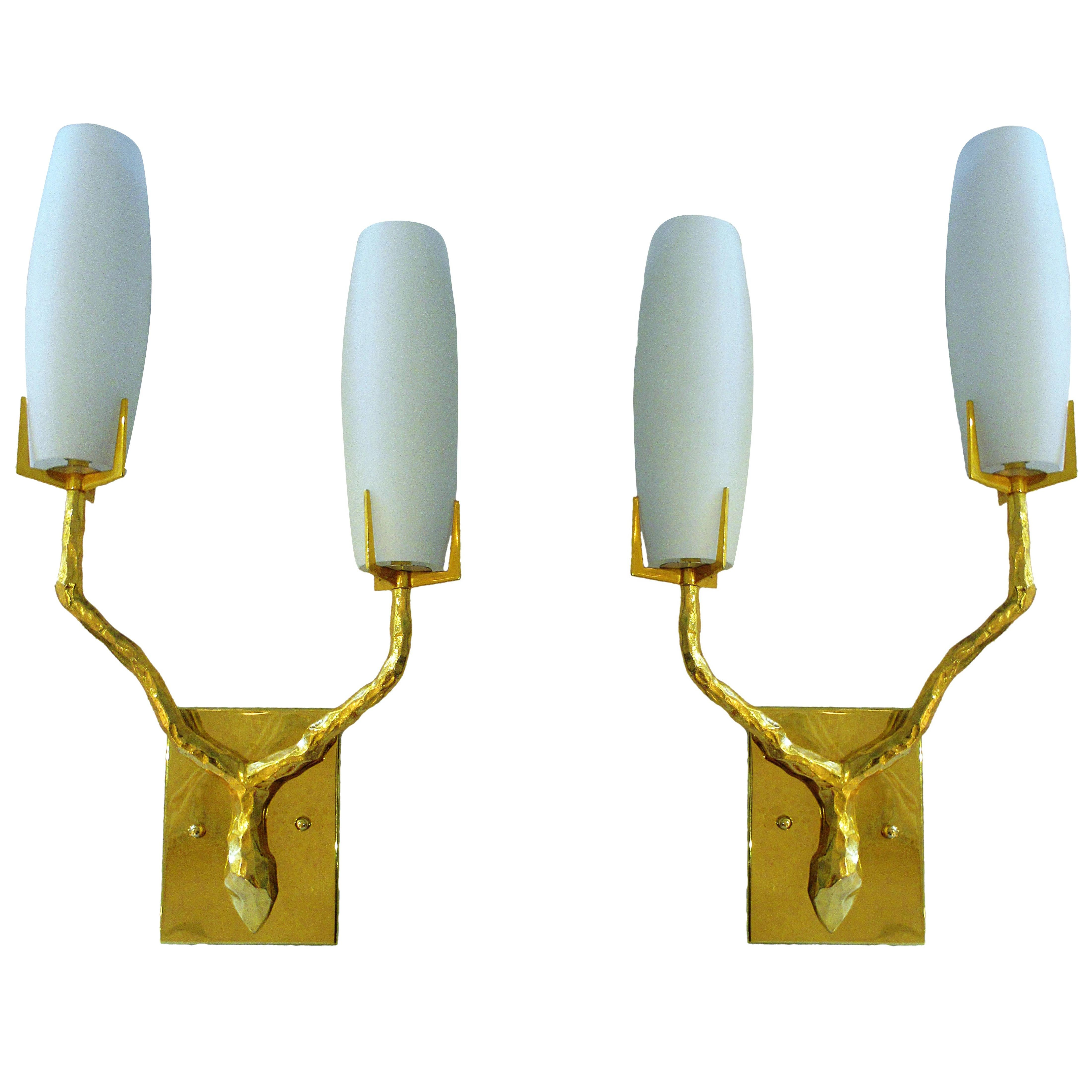 Pair of French Modern Gilt Bronze and Glass Wall Lights, Maison Arlus, 1960's